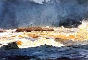 Winslow Homer - Fishing the Rapids, Saguenay