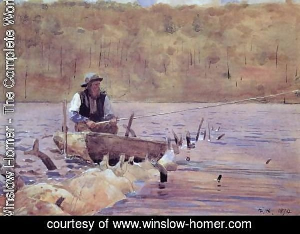 Winslow Homer - Man in a Punt, Fishing