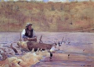 Man in a Punt, Fishing