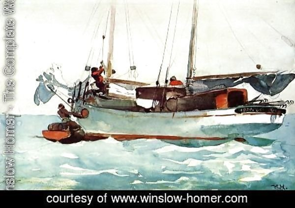 Winslow Homer - Taking on Wet Provisions (Schooner marked Newport, K.W.)
