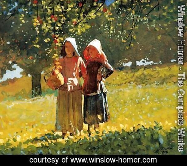 Winslow Homer - Apple Picking (or Two Girls in sunbonnets or in the Orchard)