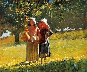 Apple Picking (or Two Girls in sunbonnets or in the Orchard)