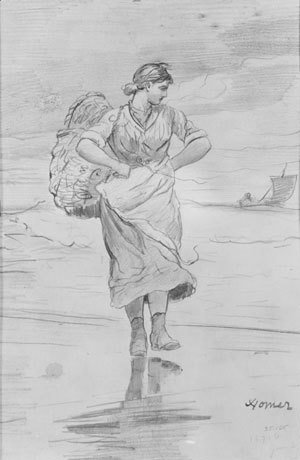 "Winslow Homer - A Fisher Girl on Beach (Sketch for illustration of ""The Incoming Tide"")"