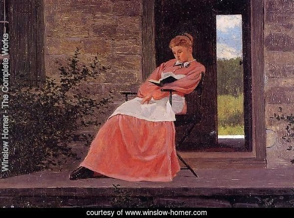 Girl Reading on a Stone Porch