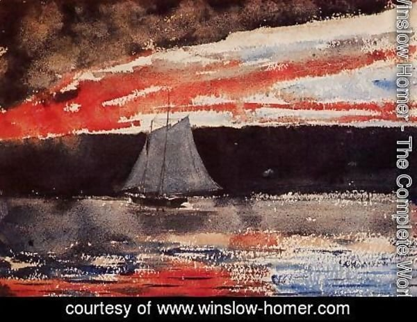 Winslow Homer - Schooner at Sunset