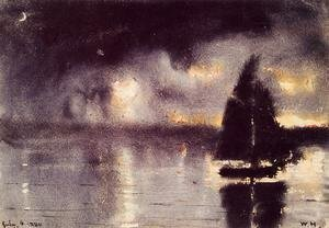 Winslow Homer - Sailboat and Fourth of July Fireworks