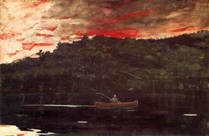 Winslow Homer - Sunrise, Fishing in the Adirondacks