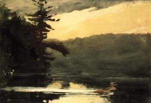 Winslow Homer - Deer in the Adirondacks