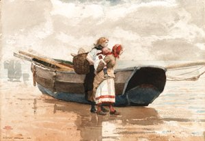 Winslow Homer - Two Girls and a Boat, Tynemouth, England